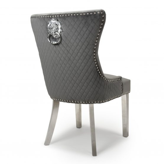 Lion Head Grey Velvet dining chait with Silver Legs