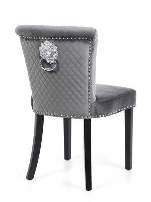 Sandringham Brushed Grey Velvet Dining Chair & Lion Head Knocker