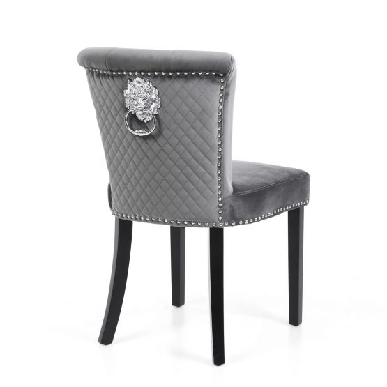 Sandringham Grey Velvet Lion head dining chairs