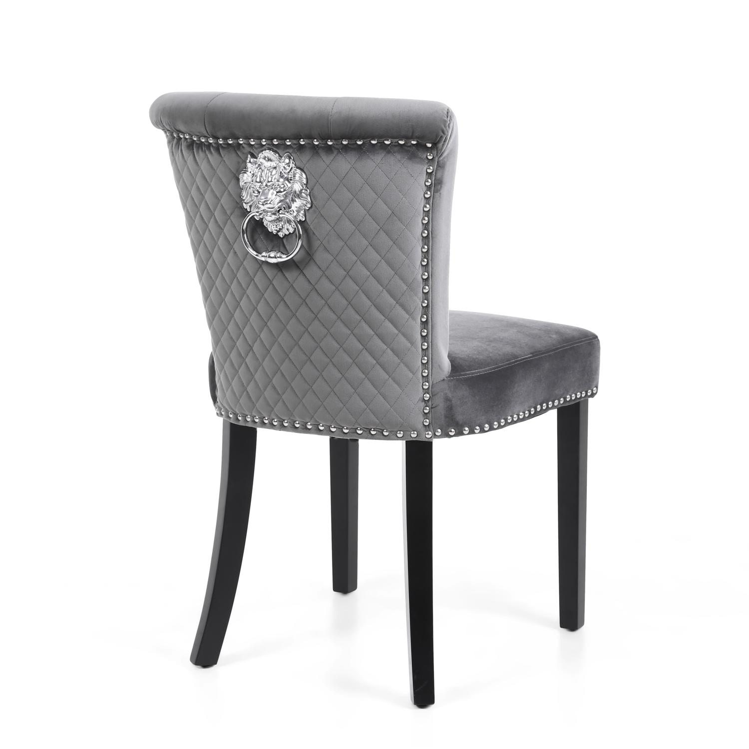Strange Sandringham Brushed Grey Velvet Dining Chair Lion Head Knocker Gamerscity Chair Design For Home Gamerscityorg