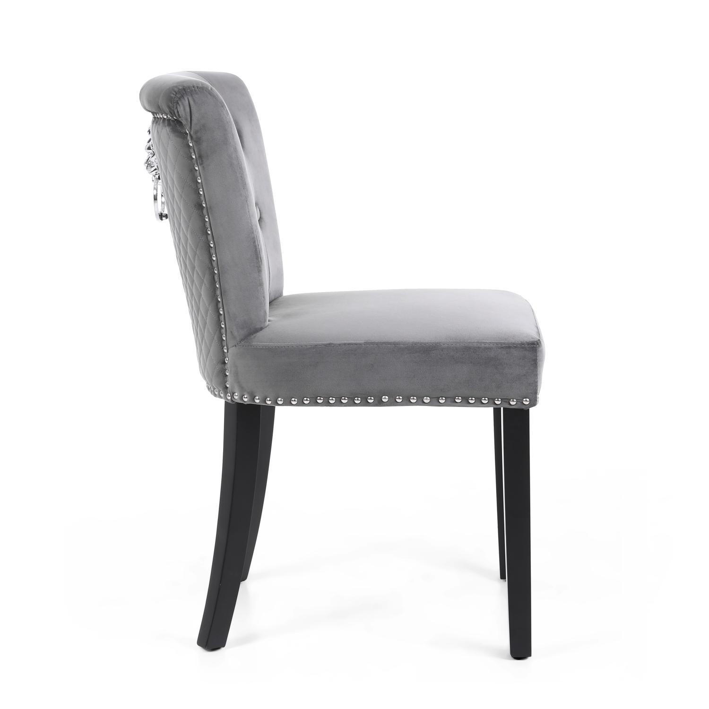 Sandringham Brushed Grey Velvet Dining Chair Amp Lion Head