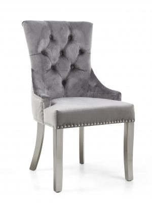 Chester Grey Brushed Velvet Fabric Dining Chair - Stainless Steel Legs