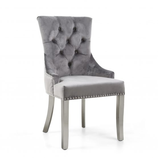 Chester Grey Velvet dining chair with Silver Legs
