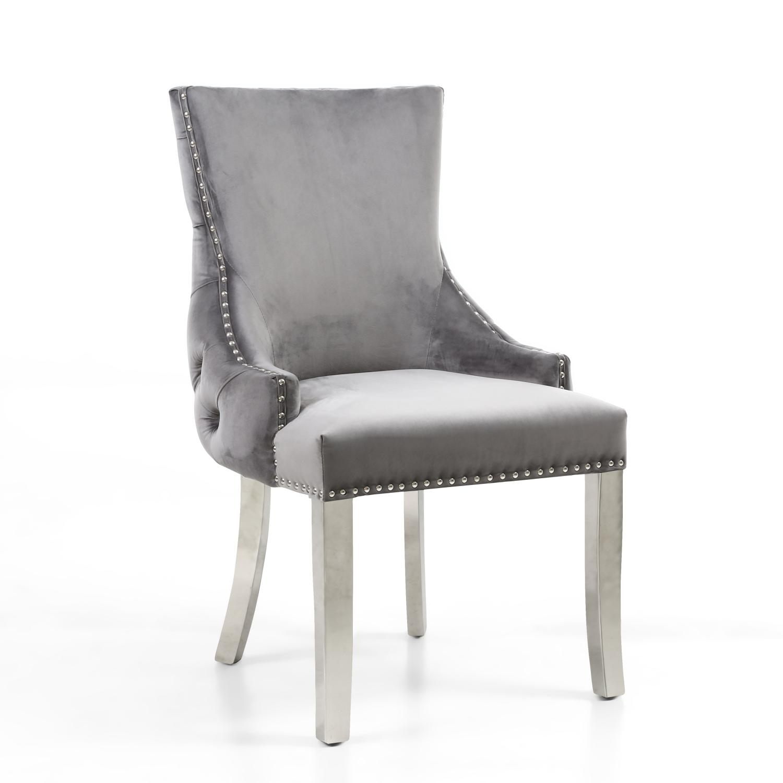 winslow grey velvet dining chair with steel legs