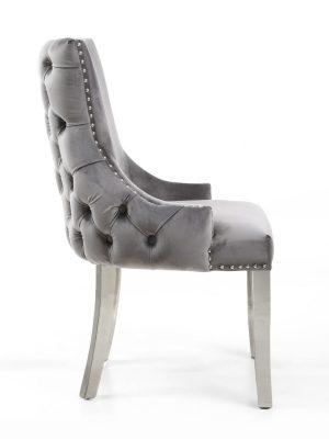 Brunel Grey Brushed Velvet Dining Chair Stainless Steel Legs
