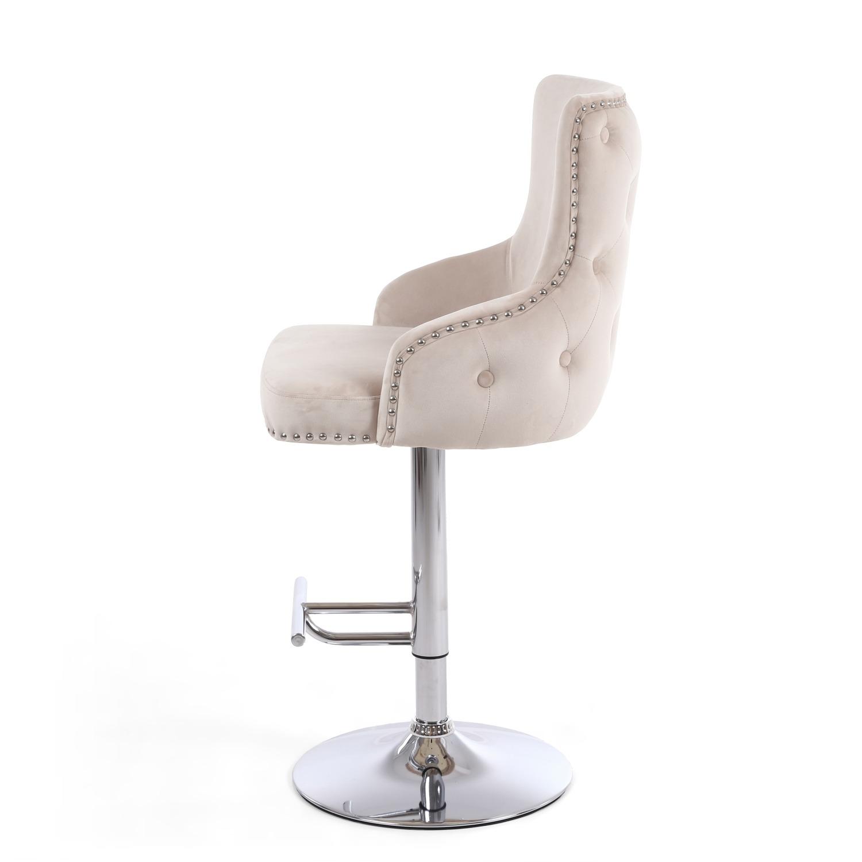 Cairo Mink Velvet Button Back bar stool
