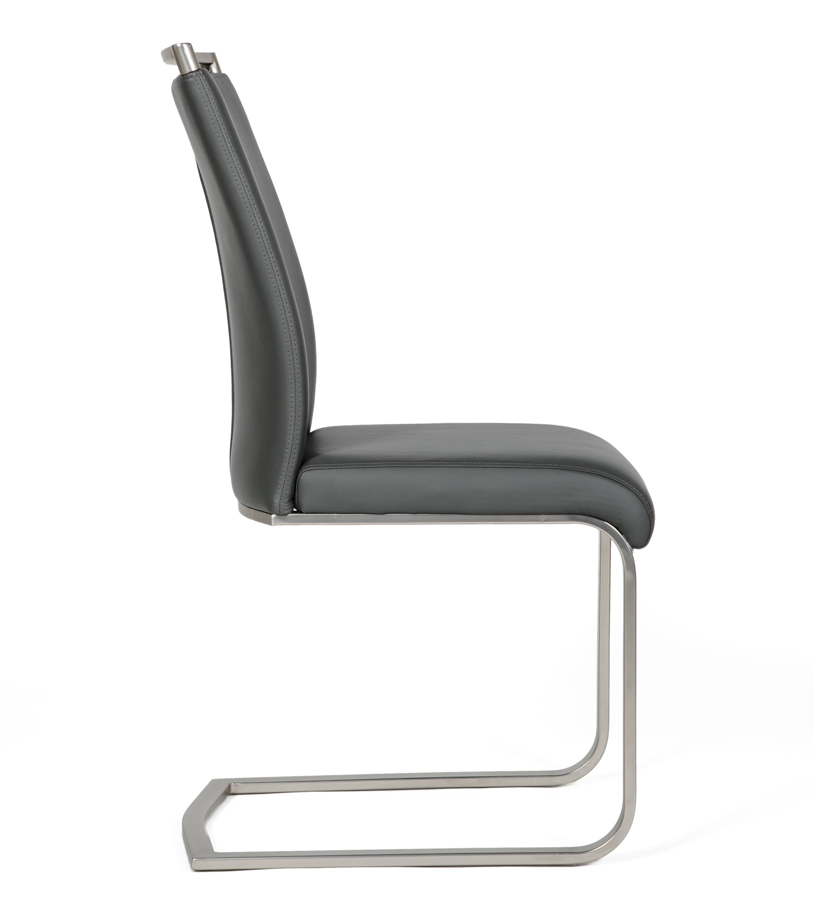 Franklin Grey Leather modern cantilever dining chair