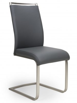 Franklin Grey Faux Leather & Steel Cantilever Dining Chair