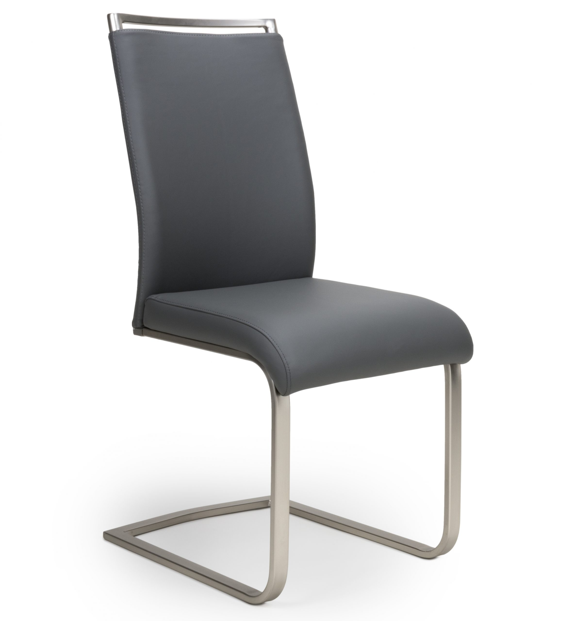 Franklin Grey Leather Cantilever Dining Chair