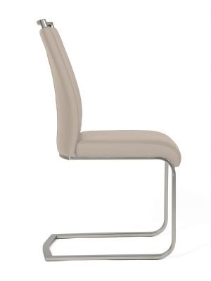 Franklin Taupe Faux Leather & Steel Cantilever Dining Chair