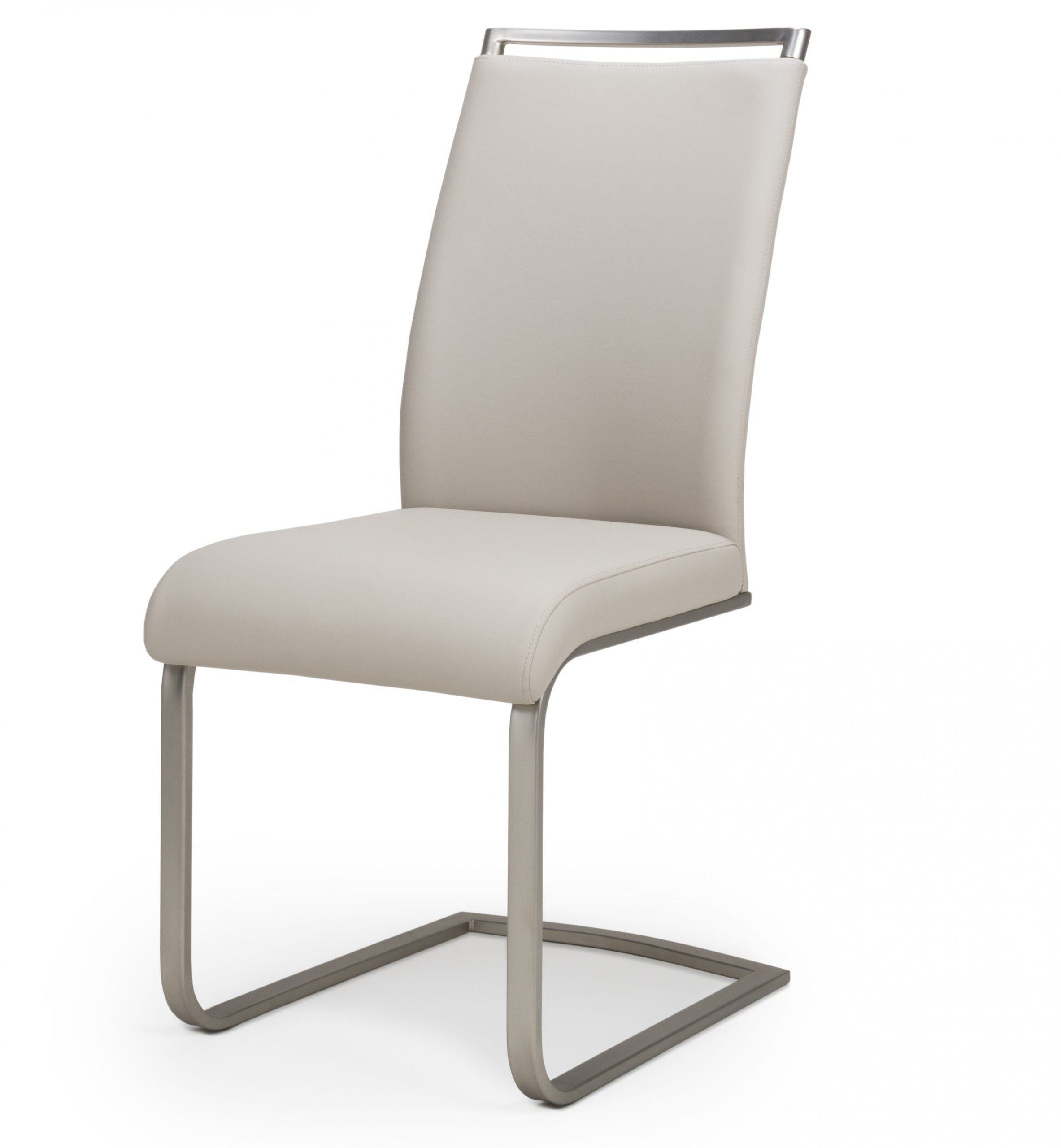 Franklin Taupe Leather Cantilever dining chair
