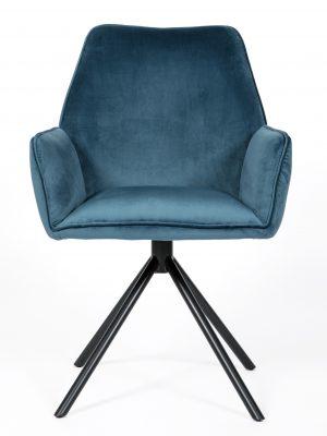 Uno Cobalt Blue Velvet Contemporary Carver Chair