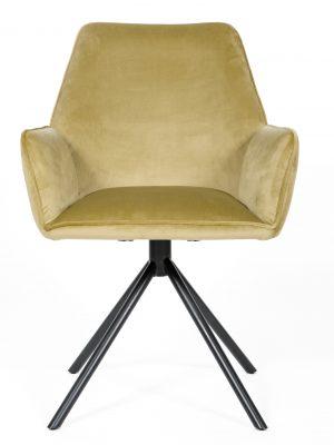 Uno Citron Yellow Velvet Contemporary Carver Chair