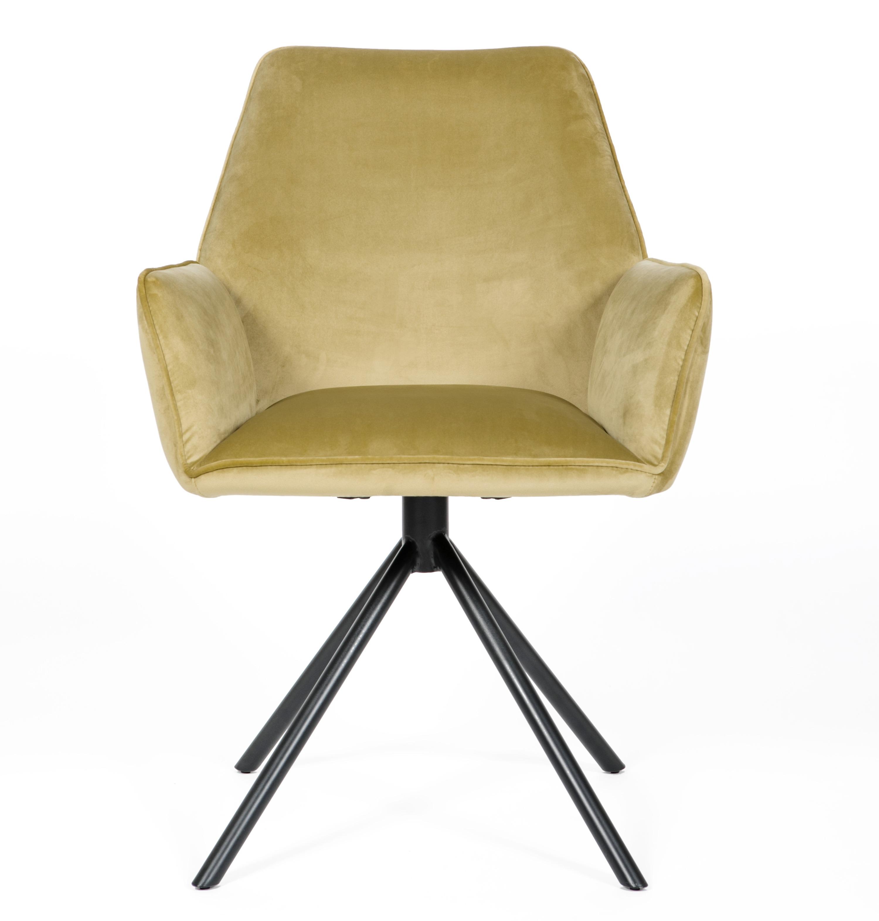 Uno Yellow Velvet Modern Carver Dining chair