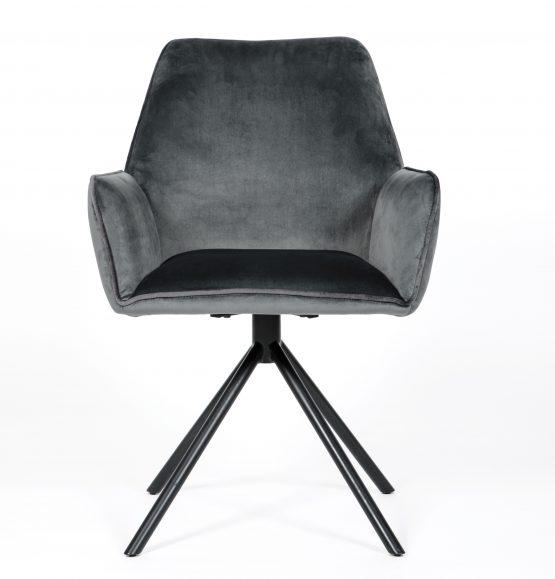 Uno Grey Velvet modern Carver Dining chair