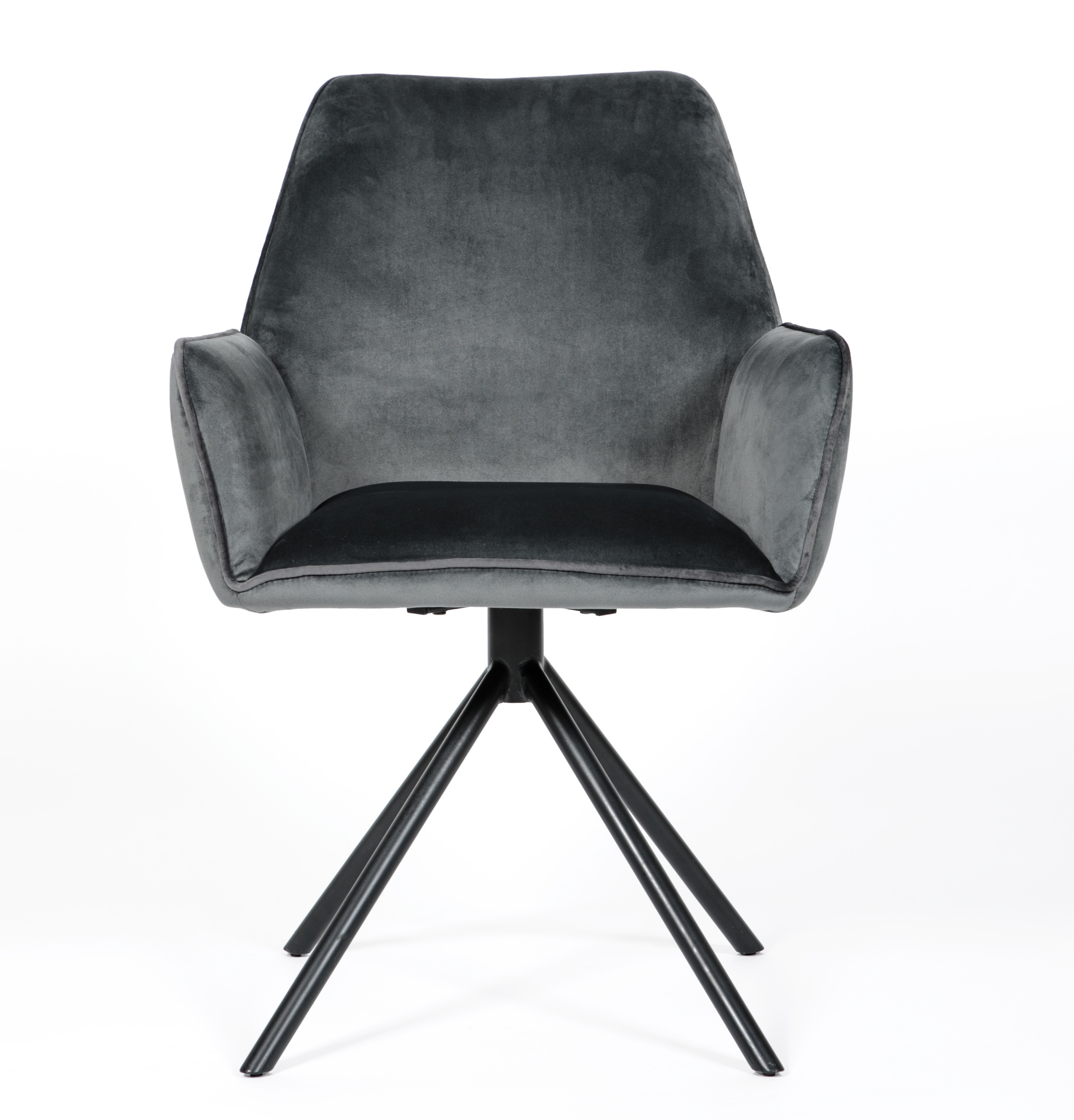 Uno Grey Velvet modern Carver Dining chair