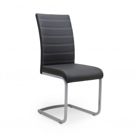 Callisto Black Leather Cantilever chair