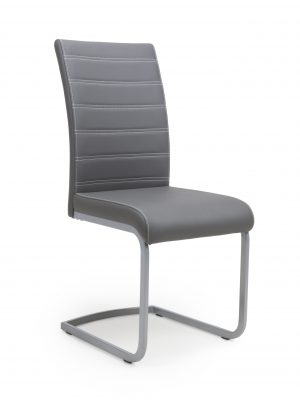 Callisto Grey Leather and Steel Cantilever Dining Chair