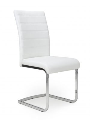 Callisto White Leather and Steel Cantilever Dining Chair