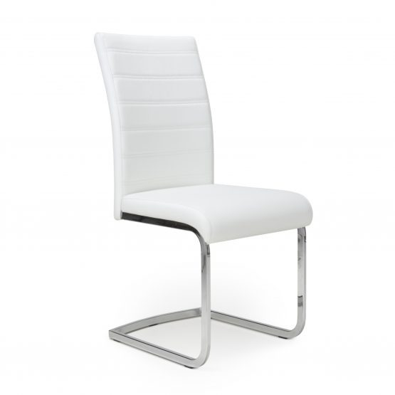 Callisto White Leather Cantilever dining chair