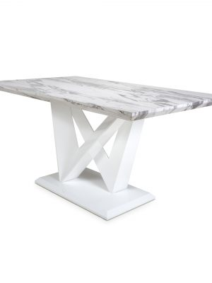 Saturn Large Marble Effect And White High Gloss Modern Dining Table