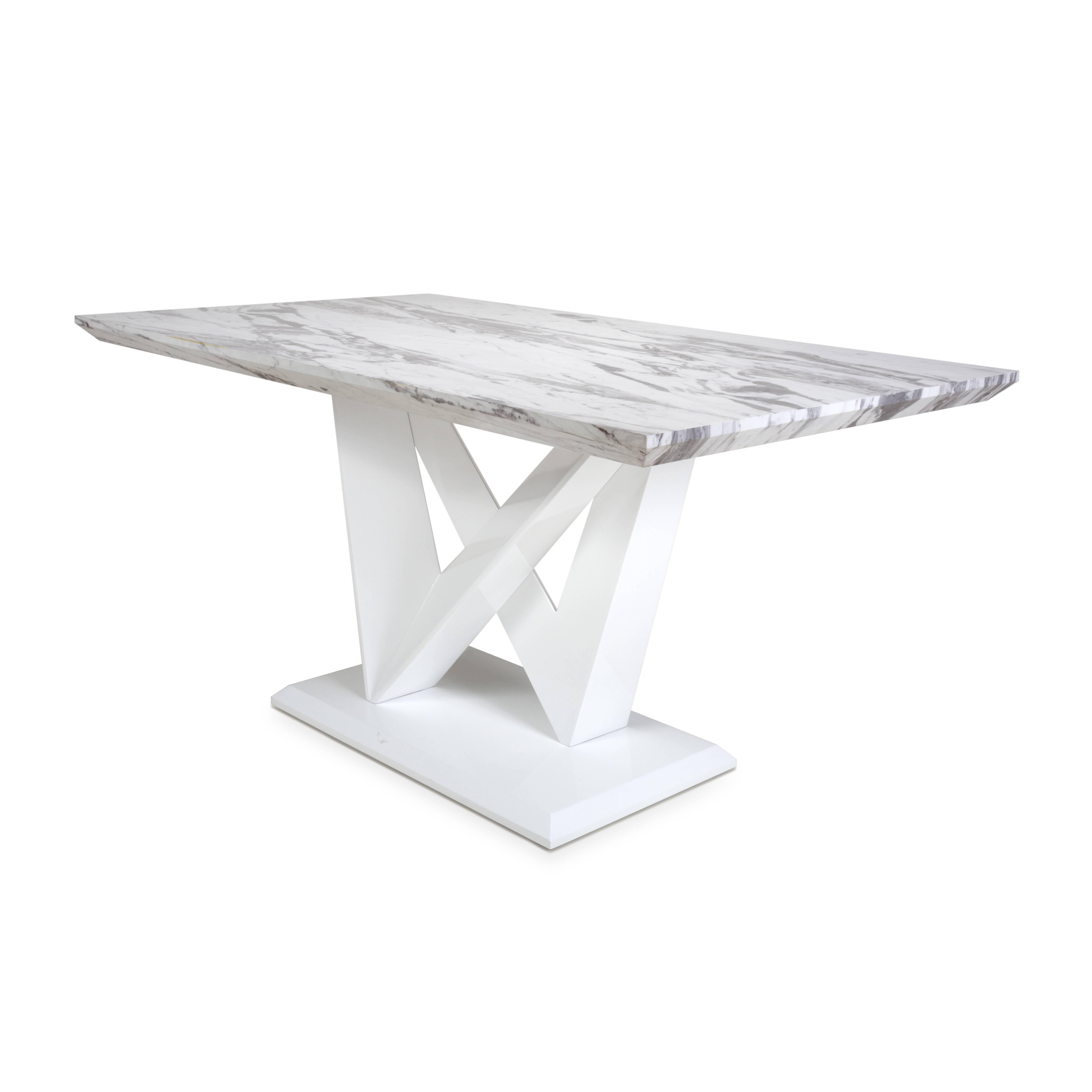 Saturn Marble Effect And White High Gloss Modern Dining Table