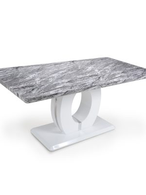 Athena Large Marble Effect And White High Gloss Modern Dining Table