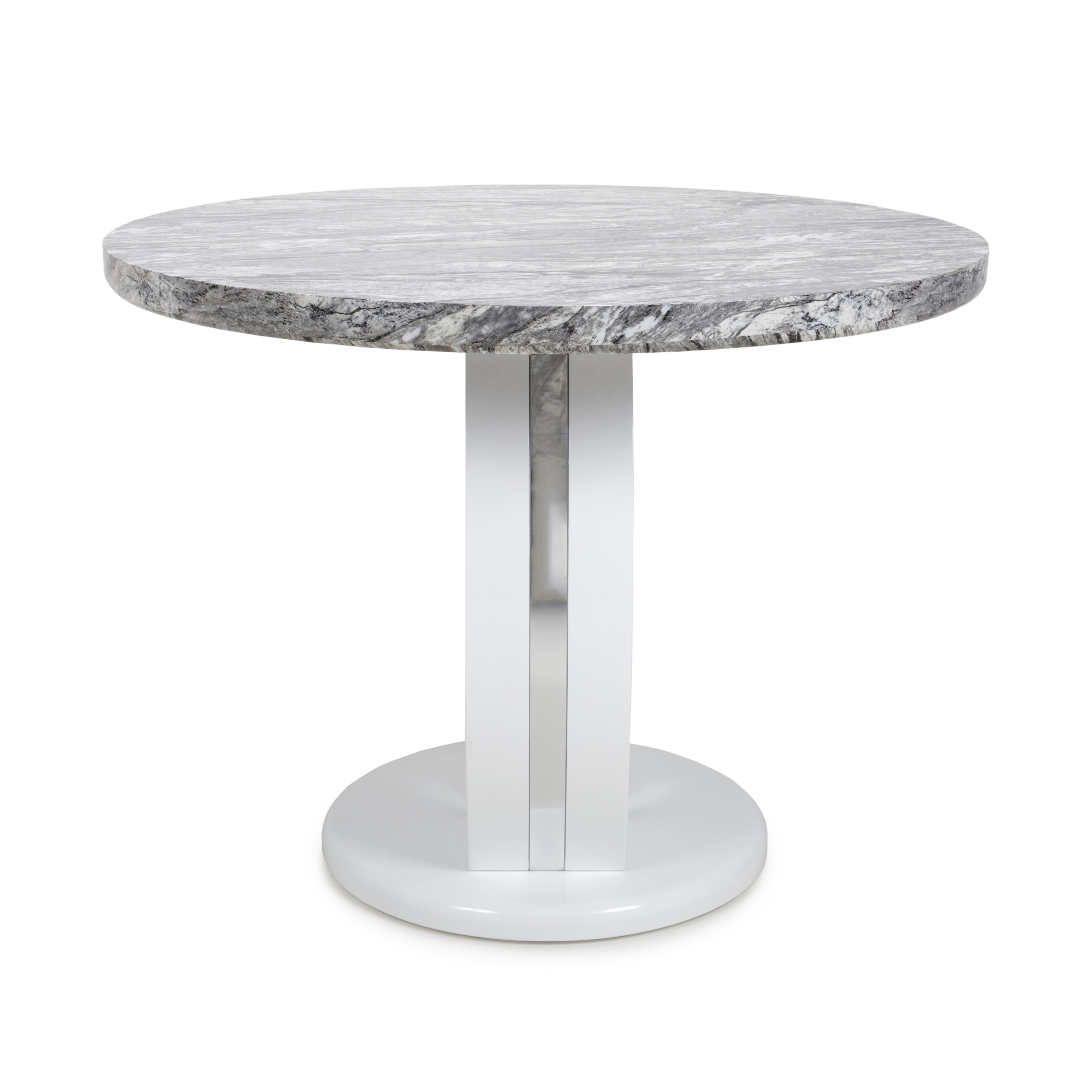 Athena Marble Effect And White High Gloss Modern Round Dining Table