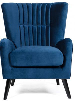 Brook Blue Velvet Wing Back Armchair