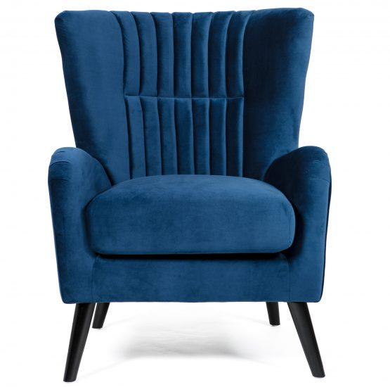 Brook Blue Velvet wing back arm chair
