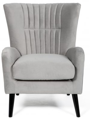 Brook Silver Grey Velvet Wing Back Armchair