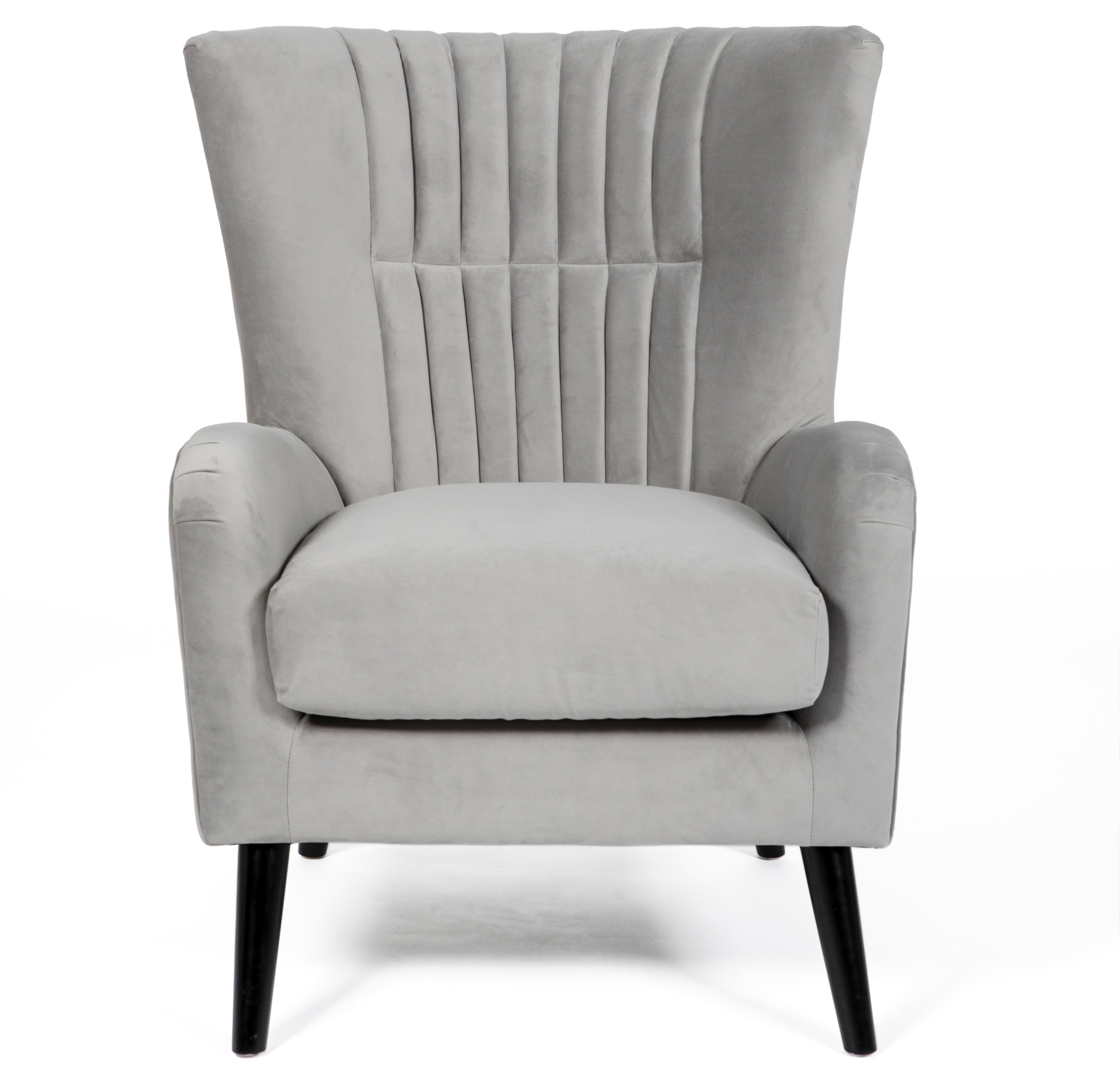 Brook Silver Grey Velvet Armchair
