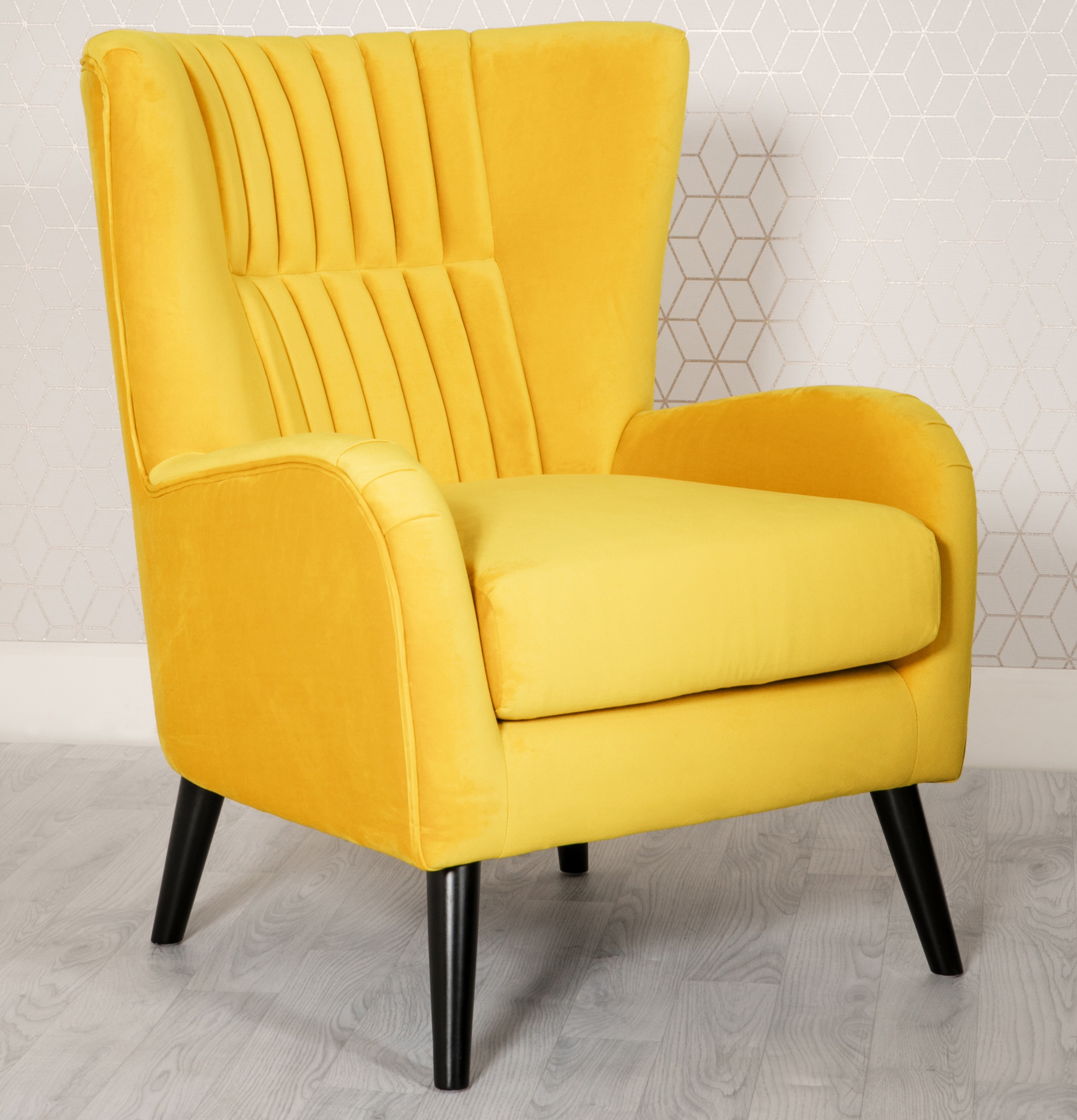 Brook Yellow Velvet Wing Back Armchair Yellow Velvet Armchair