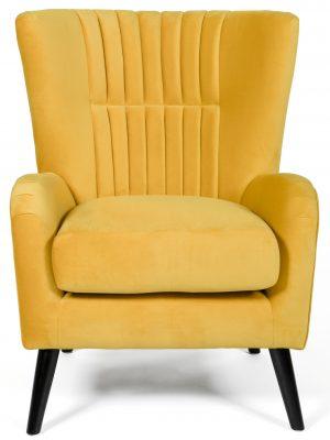 Brook Yellow Velvet Wing Back Armchair