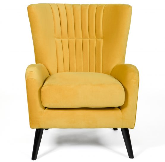 Brook Yellow velvet armchair