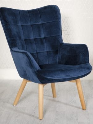 Dean Midnight Blue Velvet Accent Lounge Chair