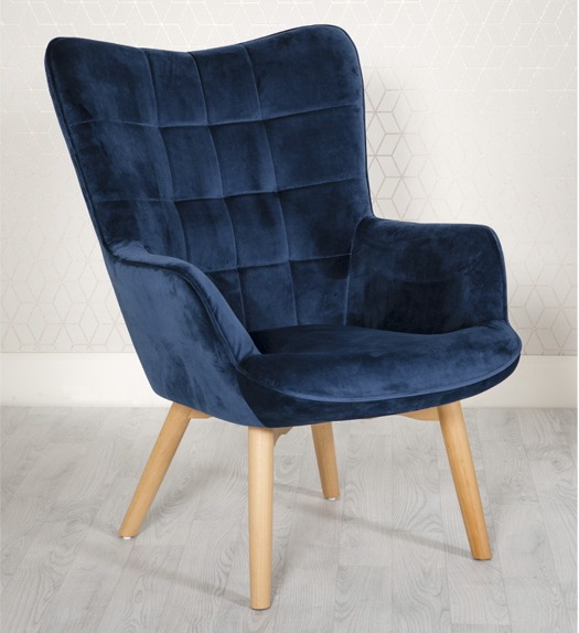 Dean Blue Velvet Lounge chair