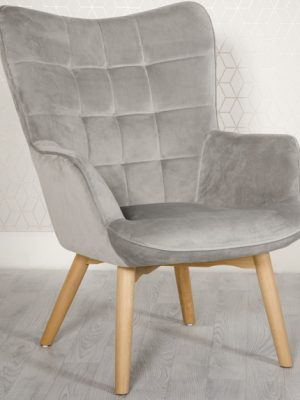 Dean Silver Grey Velvet Accent Lounge Chair