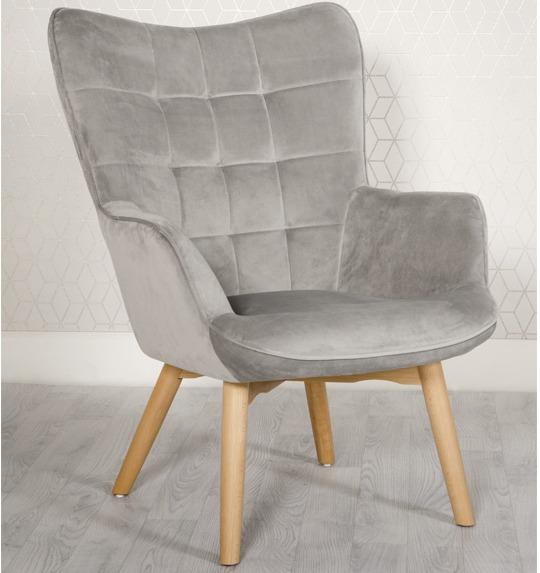 Dean Silver Grey velvet lounge chair