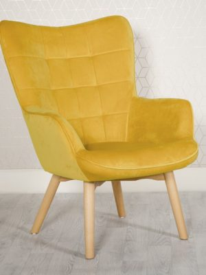 Dean Mustard Yellow Velvet Accent Lounge Chair