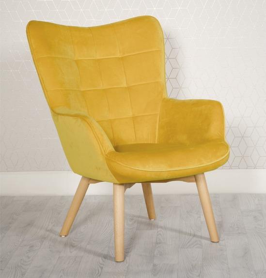 Dean Yellow Velvet wing back chair