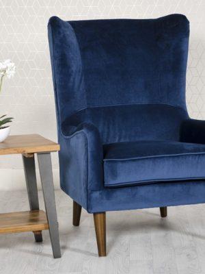 Freya Blue Velvet Wing back Lounge Chair