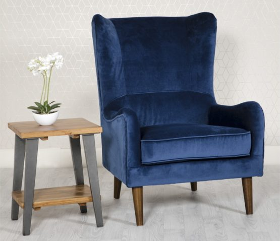 Freya Blue Velvet Wing back arm chair