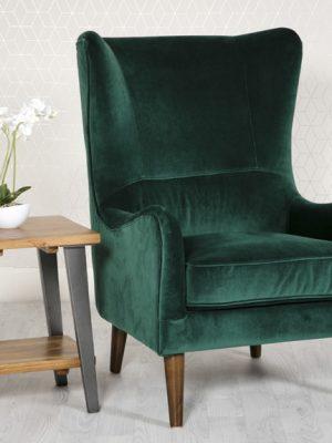 Freya Green Velvet Wing back Lounge Chair