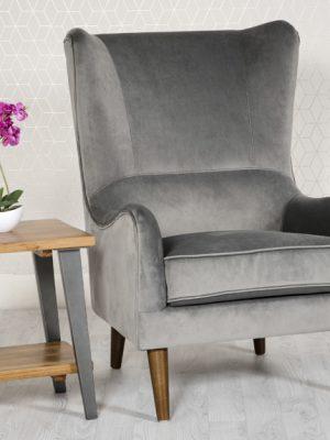 Freya Grey Velvet Wing back Lounge Chair
