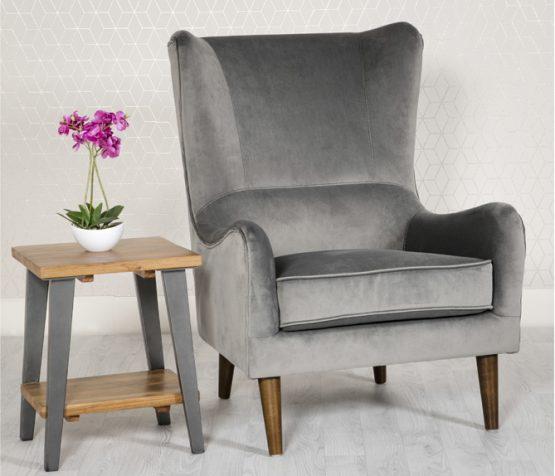 Freya Grey Velvet arm chair