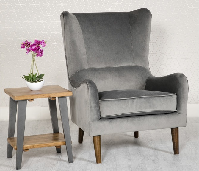 Freya Grey Velvet arm chair