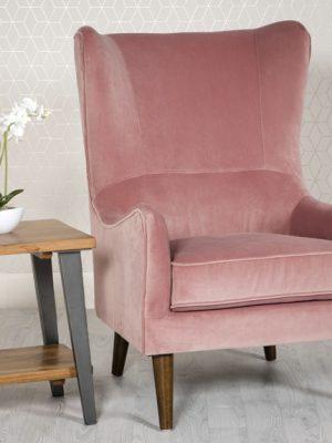 Freya Pink Velvet Wing back Lounge Chair