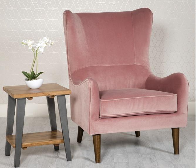 Freya Pink Velvet Arm chair