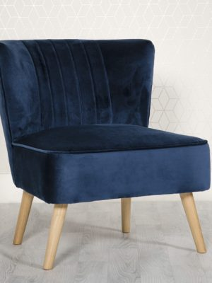 Louise Blue Velvet Compact Lounge Chair